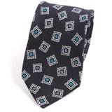 Navy Cubed Silk and Wool Ties - Handmade Silk Wool And Knitted Ties by Tie Doctor