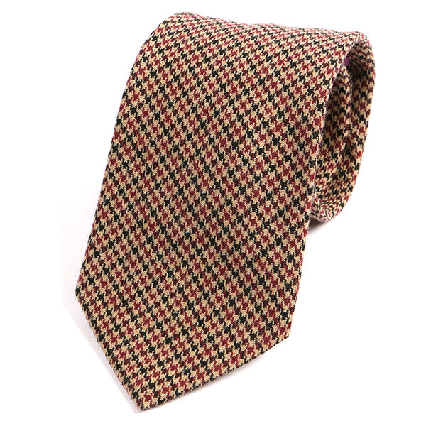 Black and Red Dogtooth Wool Ties - Handmade Silk Wool And Knitted Ties by Tie Doctor