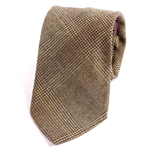 Brown Dogtooth Wool Tie - Handmade Silk Wool And Knitted Ties by Tie Doctor