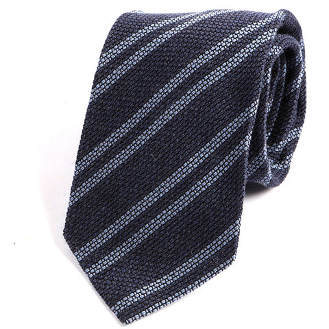 Denim Navy Striped Wool Ties - Handmade Silk Wool And Knitted Ties by Tie Doctor
