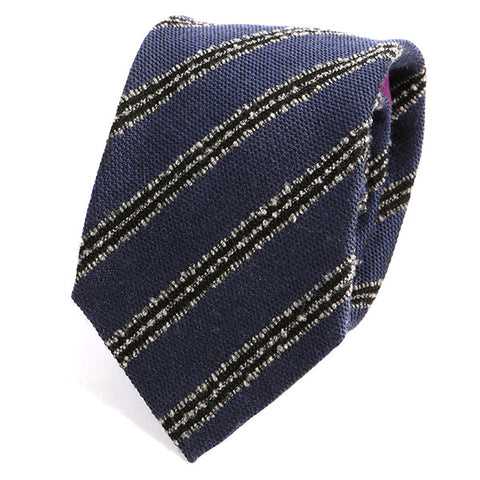Blue Striped Wool Ties - Handmade Silk Wool And Knitted Ties by Tie Doctor