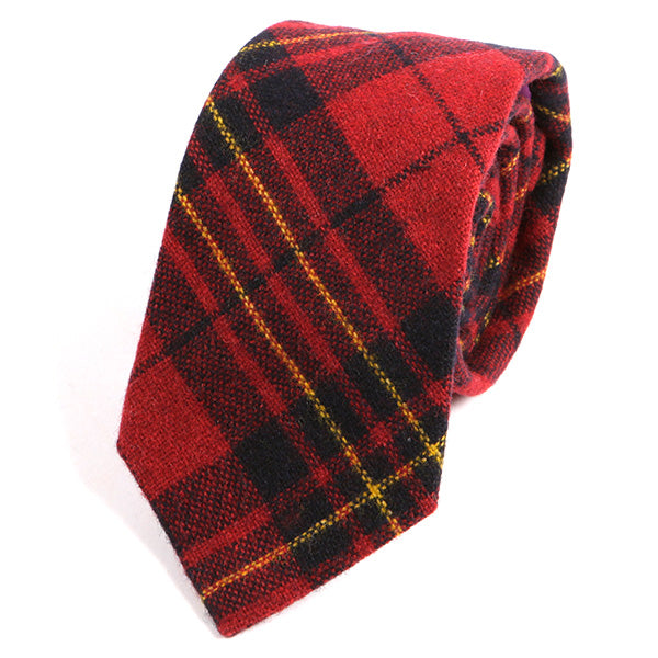Red Bold Tartan Check Wool Tie