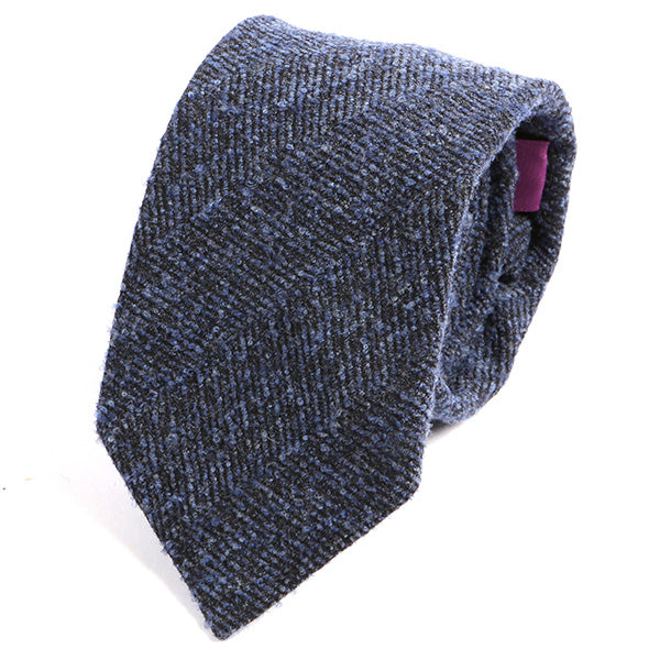 Brushed Navy Patterned Wool Ties - Handmade Silk Wool And Knitted Ties by Tie Doctor