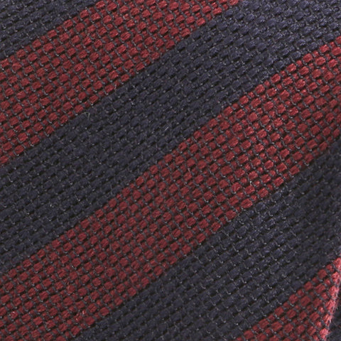 Navy and Burgundy Red Striped Wool Ties - Handmade Silk Wool And Knitted Ties by Tie Doctor