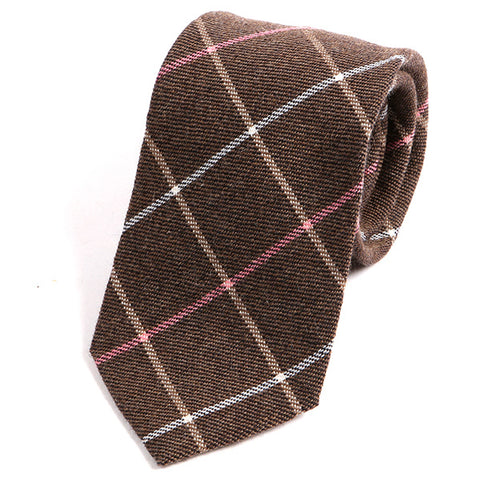 Light Brown and Pink Wool Tie - Handmade Silk Wool And Knitted Ties by Tie Doctor