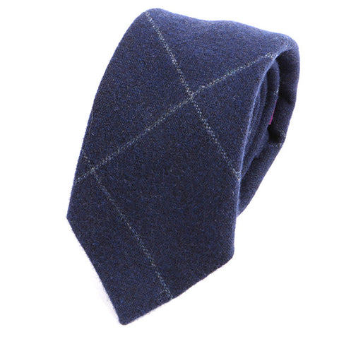 Blue Lined Wool Ties - Handmade Silk Wool And Knitted Ties by Tie Doctor