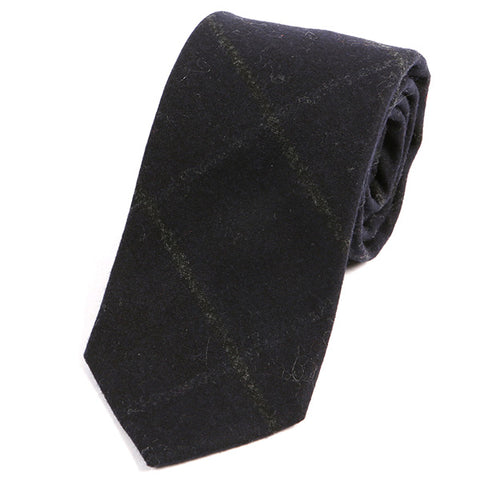 Black Check Wool Tie - Handmade Silk Wool And Knitted Ties by Tie Doctor