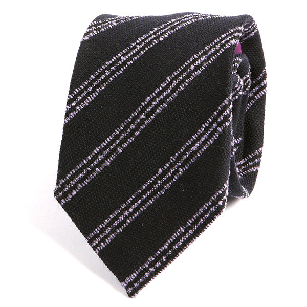 Black and Purple Striped Wool Ties - Handmade Silk Wool And Knitted Ties by Tie Doctor