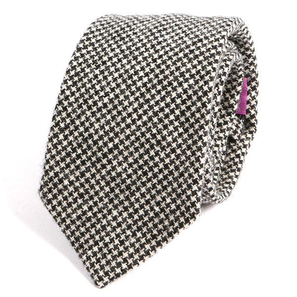 Black and White Bold Dogtooth Wool Ties - Handmade Silk Wool And Knitted Ties by Tie Doctor