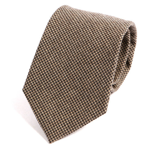 Brown Dogtooth Wool Ties - Handmade Silk Wool And Knitted Ties by Tie Doctor