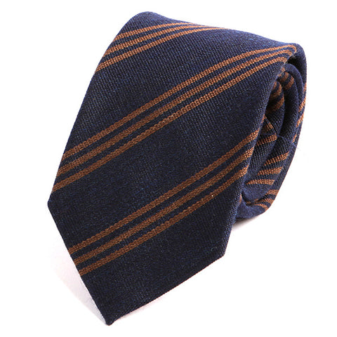 Navy and Brown Trio Striped  Wool Ties - Handmade Silk Wool And Knitted Ties by Tie Doctor