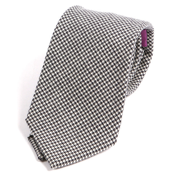 Black and White Mini Dogtooth Wool Ties - Handmade Silk Wool And Knitted Ties by Tie Doctor