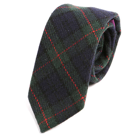 Green Bold Check Wool Ties - Handmade Silk Wool And Knitted Ties by Tie Doctor