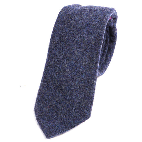 Navy Blue Brushed Wool Tie - Handmade Silk Wool And Knitted Ties by Tie Doctor