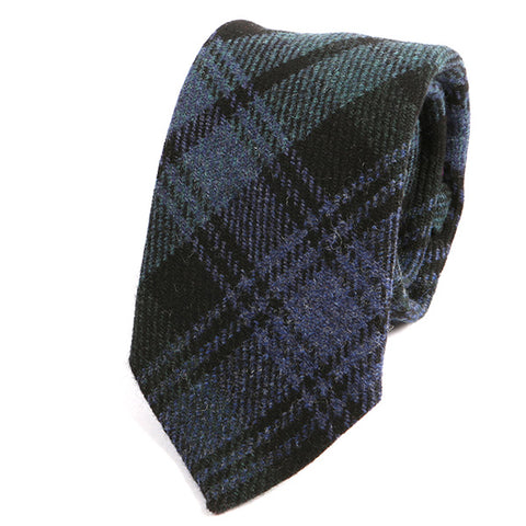 Black and Blue Bold Check Wool Ties - Handmade Silk Wool And Knitted Ties by Tie Doctor