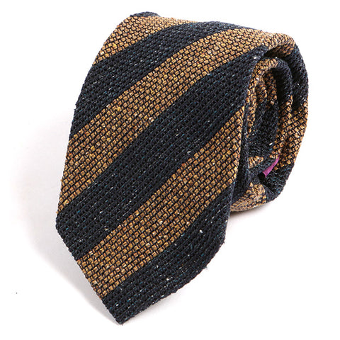 Brown and Navy Striped Wool Ties - Handmade Silk Wool And Knitted Ties by Tie Doctor