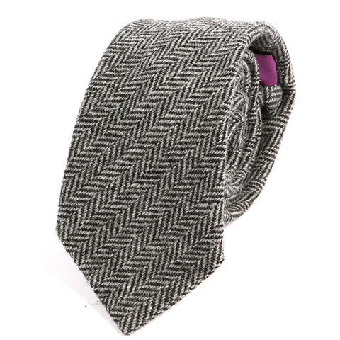 Black & Grey Patterned Wool Ties - Handmade Silk Wool And Knitted Ties by Tie Doctor