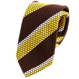 Yellow and Brown Striped Wool Tie