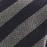 Navy and Grey Striped Wool Ties - Handmade Silk Wool And Knitted Ties by Tie Doctor