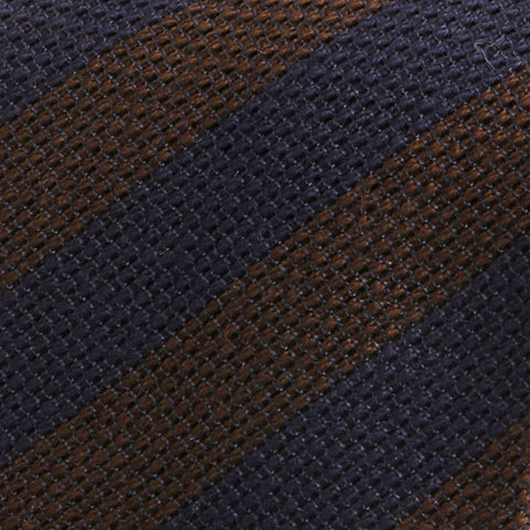 Navy and Brown Striped Wool Ties - Handmade Silk Wool And Knitted Ties by Tie Doctor