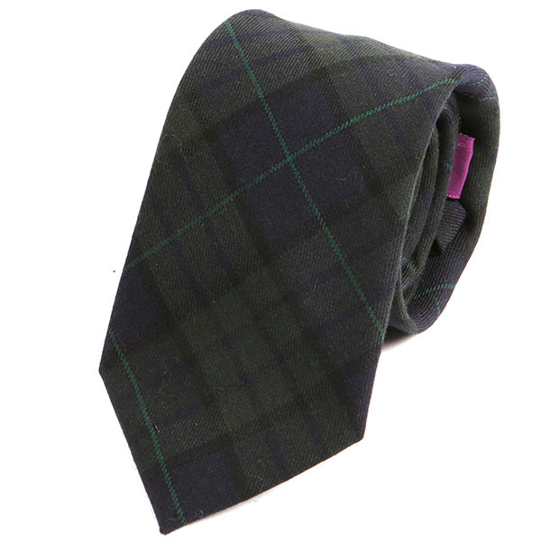 Green Tartan Check Wool Ties - Handmade Silk Wool And Knitted Ties by Tie Doctor