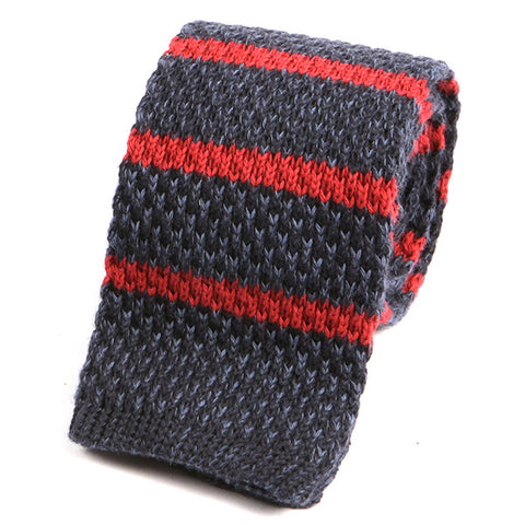 Navy Denim & Red Striped Wool Knitted Tie - Handmade Silk Wool And Knitted Ties by Tie Doctor