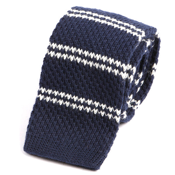Blue and White Wool Knitted Tie - Handmade Silk Wool And Knitted Ties by Tie Doctor