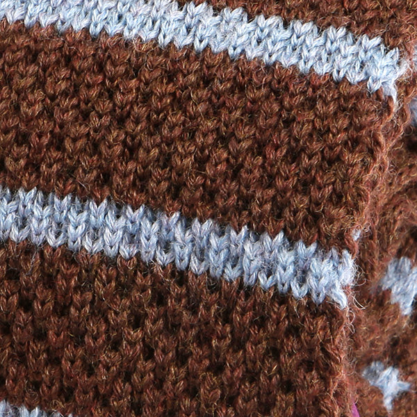 Brown and Blue Striped Wool Knitted Tie - Handmade Silk Wool And Knitted Ties by Tie Doctor