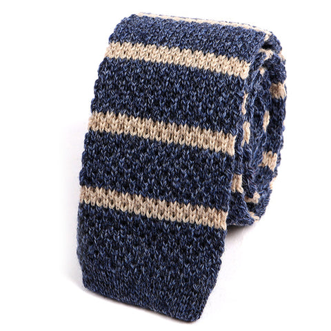 Navy Blue Striped Wool Knitted Tie - Handmade Silk Wool And Knitted Ties by Tie Doctor