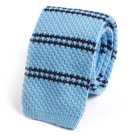Light Blue Striped Wool Knitted Tie - Handmade Silk Wool And Knitted Ties by Tie Doctor