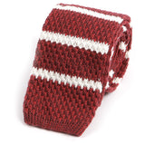 Red Striped Wool Knitted Tie