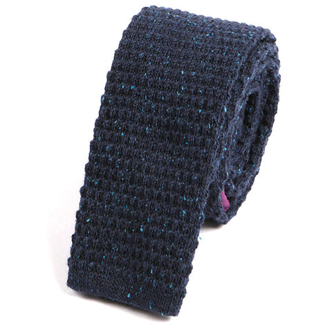 Navy Grain Wool Knitted Tie - Handmade Silk Wool And Knitted Ties by Tie Doctor