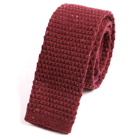Light Red Grain Wool Knitted Tie - Handmade Silk Wool And Knitted Ties by Tie Doctor
