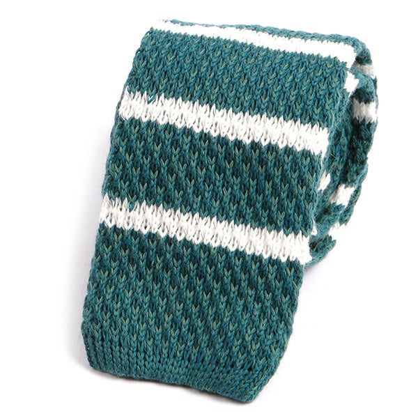Teal Green Striped Wool Knitted Tie