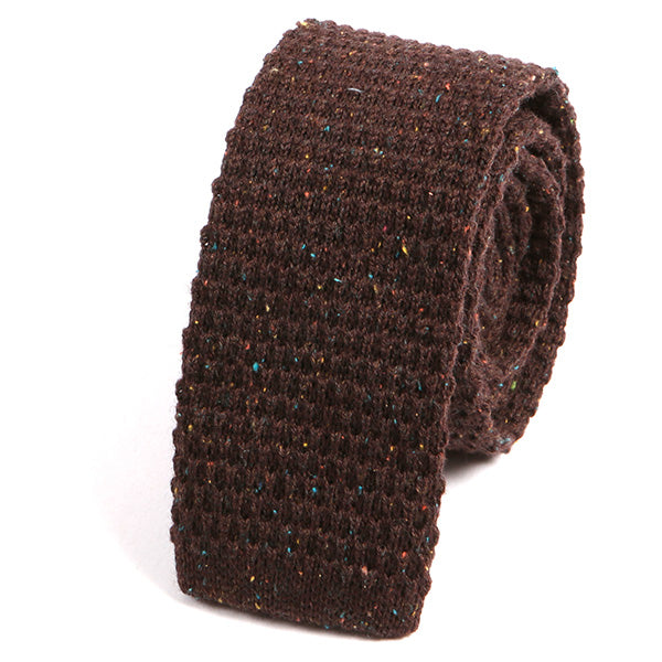 Brown Grain Wool Knitted Tie - Handmade Silk Wool And Knitted Ties by Tie Doctor