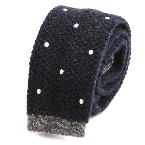 Navy Spotted Dots Wool Knitted Tie