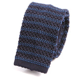 Black and Blue Striped Silk Knitted Tie - Handmade Silk Wool And Knitted Ties by Tie Doctor