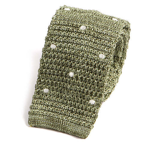 Pear Green Polka Dot Silk Knitted Tie