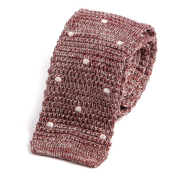 French Rose Polka Dot Silk Knitted Tie - Handmade Silk Wool And Knitted Ties by Tie Doctor