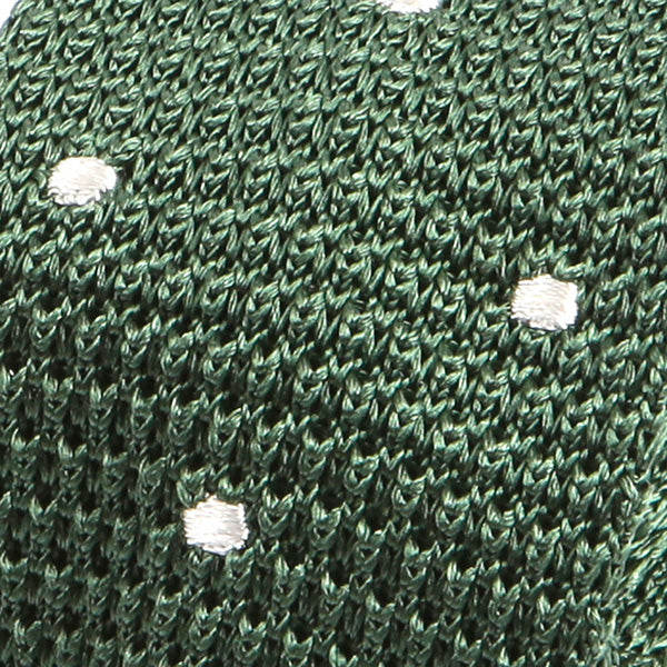Green And White Polka Dot Silk Knitted Tie - Handmade Silk Wool And Knitted Ties by Tie Doctor