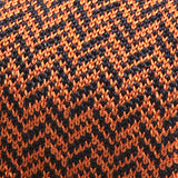 Burnt Orange and Navy Silk Pointed Knitted Tie - Handmade Silk Wool And Knitted Ties by Tie Doctor