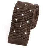 Chocolate Brown Polka Dot Silk Knitted Tie - Handmade Silk Wool And Knitted Ties by Tie Doctor