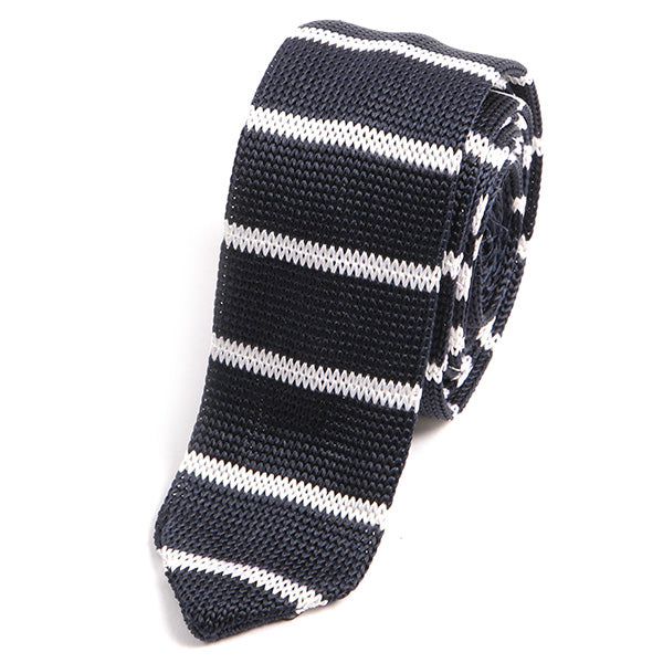 Navy Striped Skinny Silk Knitted Tie