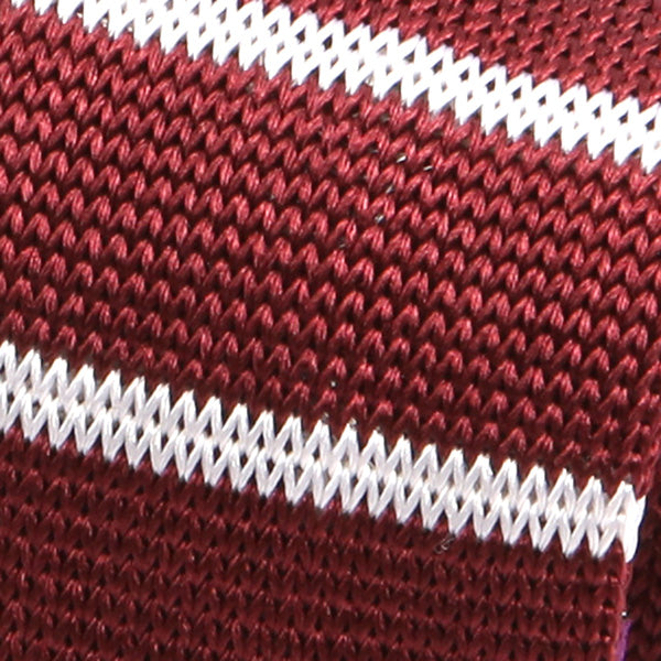 Burgundy Striped Skinny Silk Knitted Tie - Handmade Silk Wool And Knitted Ties by Tie Doctor