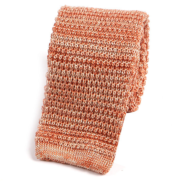 Orange Silk Knitted Tie