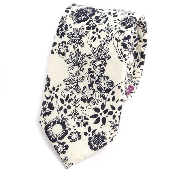 White and Blue Bold Floral Slim Tie