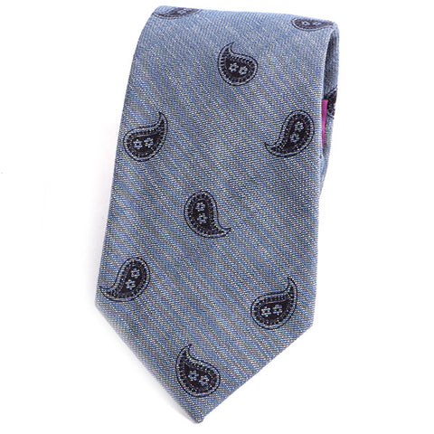 Blue Paisley Cotton Tie - Handmade Silk Wool And Knitted Ties by Tie Doctor