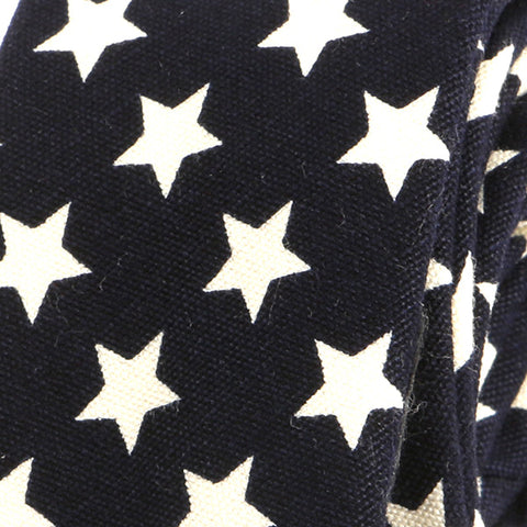 Navy Bold Star Slim Tie - Handmade Silk Wool And Knitted Ties by Tie Doctor