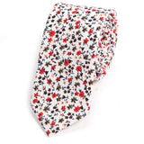Red Floral Cotton Slim Tie