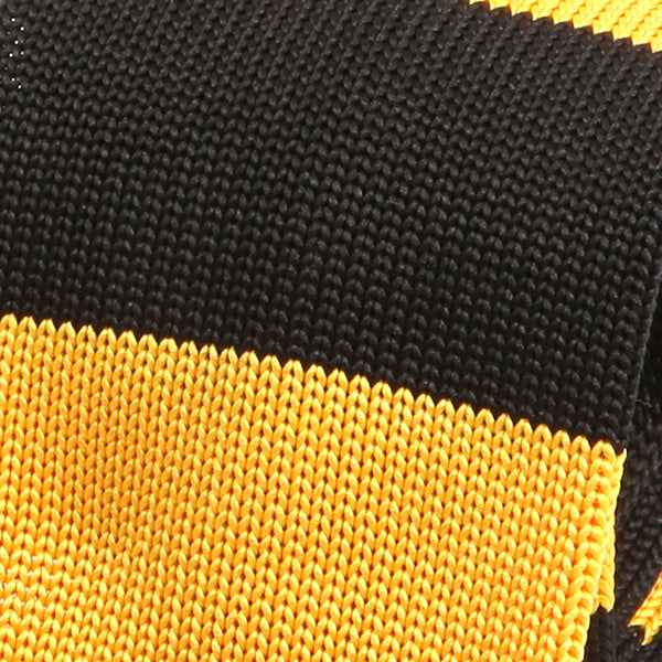 Black And Yellow Block Knitted Tie - Handmade Silk Wool And Knitted Ties by Tie Doctor